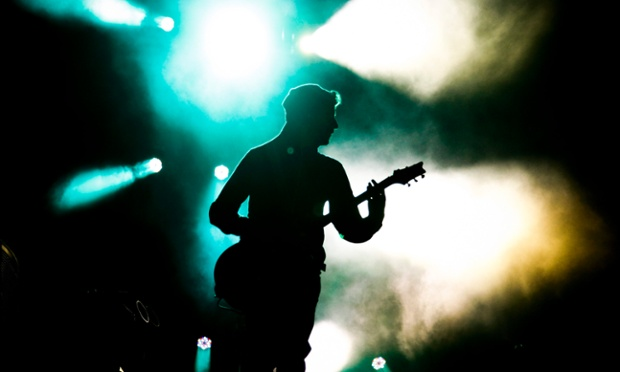 Linkin Park's lead guitarist Brad Delson perform in Cape Town, South Africa. This is the first ever performance in South Africa for US rap-rockers Linkin Park who perform two shows in Cape Town and Johannesburg as part of their Living Things world tour.