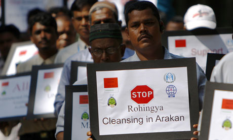 Rohingya people, living in Malaysia, protest at violence in Burma