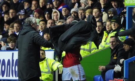 Manchester United's Rafael Da Silva is substituted against Reading.