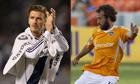 David Beckham of the Los Angeles Galaxy and Adam Moffat of Houston Dynamo