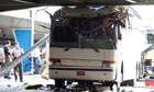 The scene of a bus crash at Miami International Airport