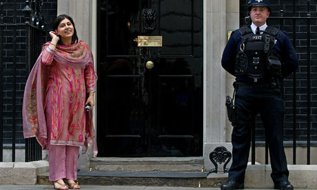 Baroness Warsi wearing shalwar khameez at Downing Street in May 2010