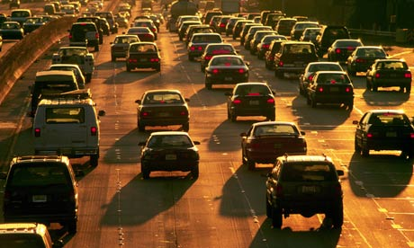 Heavy traffic on an LA freeway