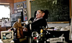 Stephen Hawking works in his office at the University of Cambridge