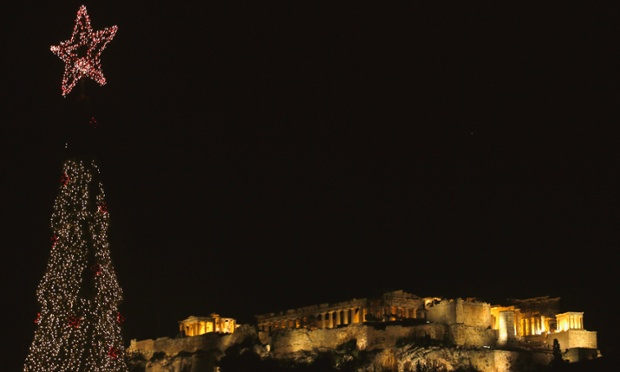 A Christmas tree at the foot of Athens' Acropolis yesterday.