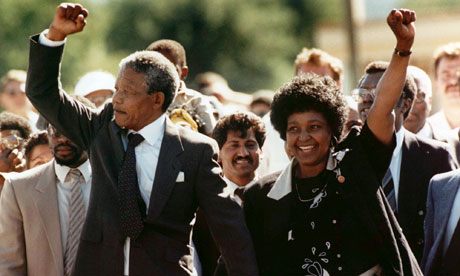Nelson Mandela obit: 1990: Nelson Mandela and Winnie upon his release from Victor prison, Cape Town