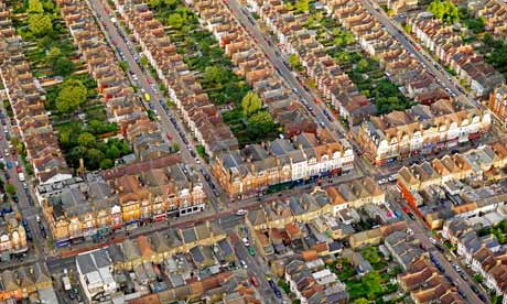 Ariel view of London housing