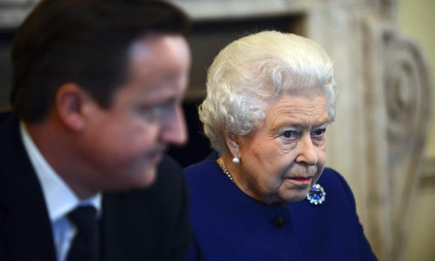 The Queen sitting alongside David Cameron at cabinet.