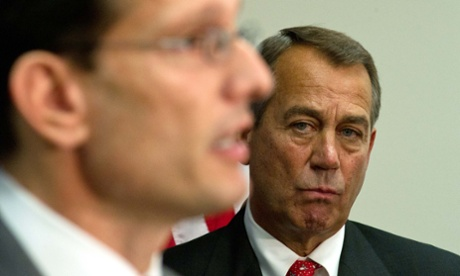 John Boehner and Eric Cantor during a press conference.
