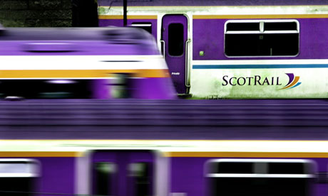 A Scotrail train stands at Edinburgh's Waverley station