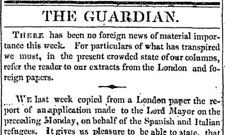 Christmas Day 1824 no foreign news of material importance in the Manchester Guardian