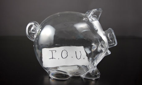 piggy bank with iou note