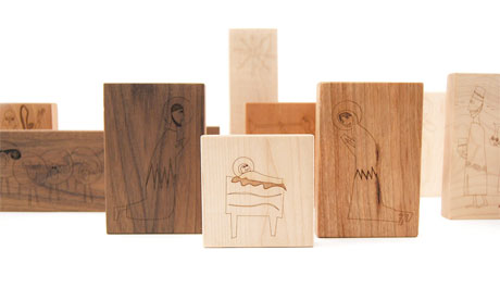 Nativity set by Little Sapling Toys with characters etched into timber blocks