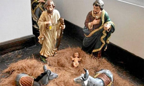 The controversial 'homosexual nativity scene' that appeared on Facebook with two Josephs