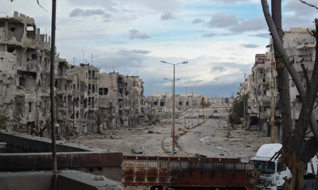 View of damaged buildings are seen in al-Khalidiya neighbourhood of Homs on Thursday. Picture taken December 20, 2012.
