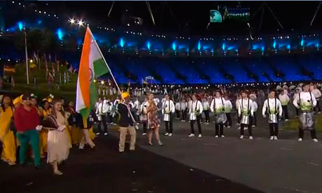 Indian team enter the Olympic stadium