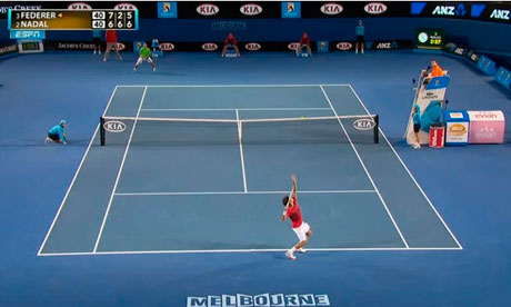 Roger Federer is serving to Rafael Nadal at the Australian Open