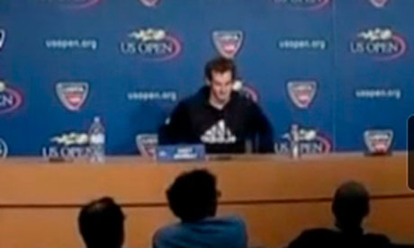 Andy Murray discussing his US Open semi win over Tomas Berdych.