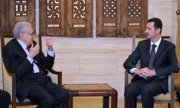 "Syrian president Bashar al-Assad met international envoy Lakhdar Brahimi in the capital Damascus on 24 December. After the meeting Brahimi said: ""The situation in Syria is still worrying and we hope that all the parties will go toward the solution that the Syrian people are hoping for and look forward to."" Photograph: -/AFP/Getty Images"
