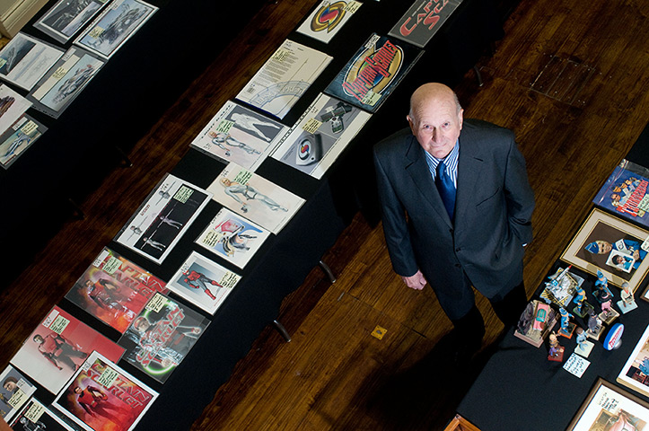 Gerry Anderson: Gerry Anderson with memorabilia at an auction at the Battersea Arts Centre