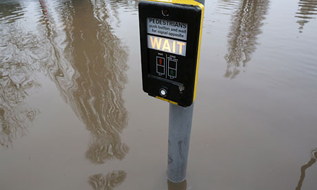 Flooded road in Upavon, England, after the river Avon burst its banks on 24 December 2012