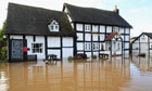 A pub is flooded in the village of Severn Stoke, near Worcester
