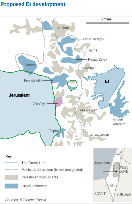 Map: proposed E1 Israeli settlement