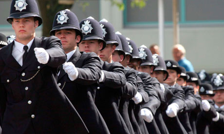 Metropolitan police officers in their passing out parade