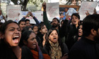 Indian protesters demonstrate in New Delhi after the death of a student gang-raped on a bus