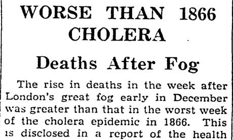 Deaths from fog worse than 1866 cholera, December 1952