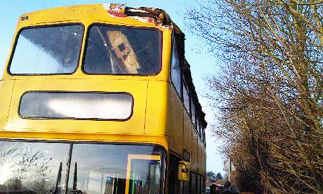 The damage to the school bus after it was cut open by a tractor trimming hedges in Wivenhoe, Essex