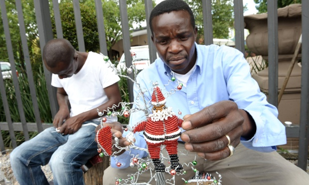 Street vendors sell Christmas decorations in Johannesburg.