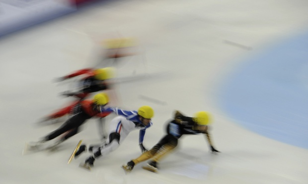 Skaters compete in the men's 1000m heats in the World cup short track speed skating event in China.