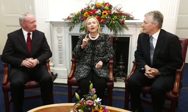 Meanwhile US Secretary of State Hillary Clinton meets with Northern Ireland's First Minister Peter Robinson and Deputy First Minister Martin McGuinness at Stormont Castle in Belfast.