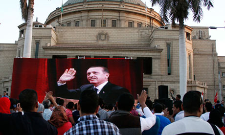 Turkey's prime minister on a public TV screen