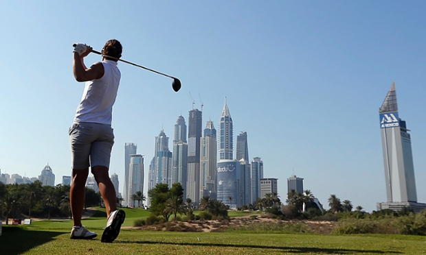 Fore! Joanna Klatten of France takes a shot during the Dubai ladies masters golf tournament.