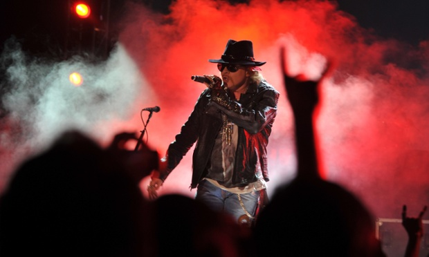 Axl Rose of US hard rock band Guns N' Roses performs during a concert in Bangalore today. The band, who have sold more than 100 million records worldwide, are touring India for the first time.