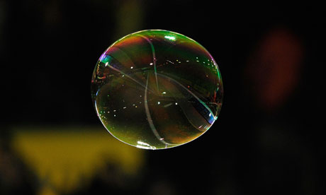 A bubble floats through the air