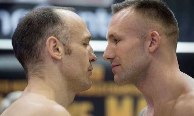 Brian Magee from Northern Ireland and Mikkel Kessler from Denmark, pose together during the weigh-in for the WBA Super-Middleweight World Championship in Denmark.