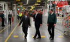 David Cameron visits Jaguar Land Rover plant