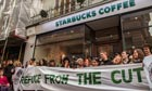 Protesters at the Vigo Street branch of Starbucks in London