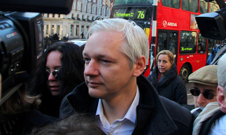 Julian Assange outside the high court in London on 5 December 2011.