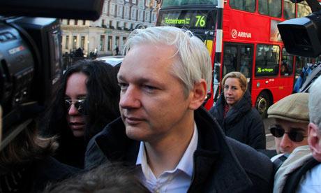 Julian Assange outside the high court in London on 5 December 2011.