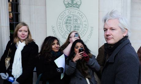 Julian Assange arrives at the supreme court on 1 February 2012.