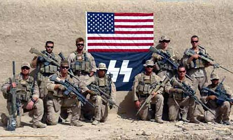 US marines with flag resembling Nazi SS