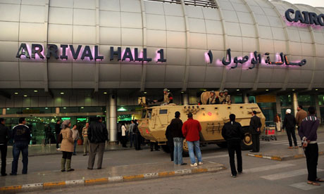 An armoured vehicle on patrol at Cairo airport