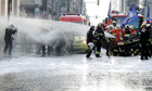 Belgian firefighters&#39; protest