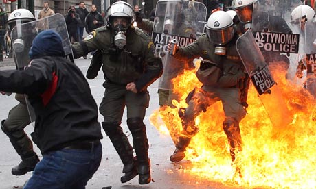 Clashes in Athens during a general strike protest