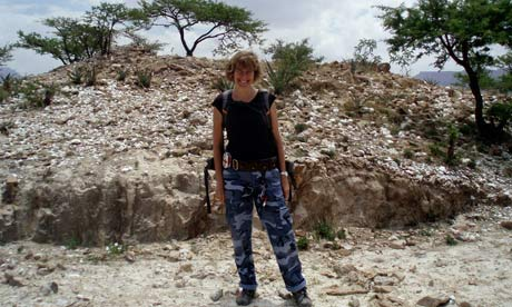 Archaeologist Louise Schofield stands in front of the mine, believed to have belonged to the Queen of Sheba, in northern Ethiopia. Photograph: The Tigray Trust