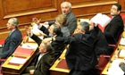 Greek MPs in parliament